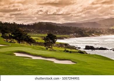12th Feb, 2017 Pebble Beach Golf  Course, California, CA., USA  - the 8th green, 9th and 10th hole viewed across the beach to Carmel