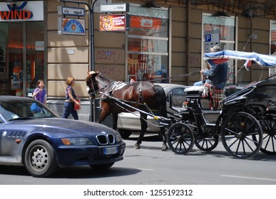 12th of May 2010 - Scene from Italian city with view past big BMW to horse carriage. Palermo, Italy