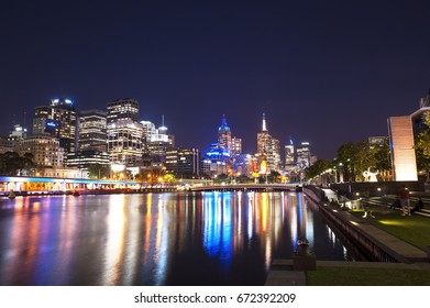 12th November 2016 : Melbourne City downtown night scenery with reflection on water.