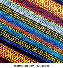 13. 01. 2016, CHIENGMAI. THAILAND, photo of cross stitch embroidery on canvas.Tribal handmade woven cotton fabrics form Chiengmai, Thailand. Pattern for design element.