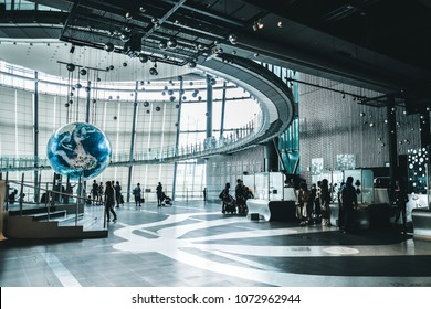 """13 APRIL 2018, TOKYO, JAPAN: A giant globe with interactive projections inside the National Museum of Emerging Science and Innovation, known as the Miraikan literally meaning """"Museum of the Future"""""""