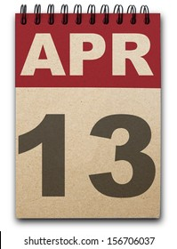 13 April calendar on recycle paper