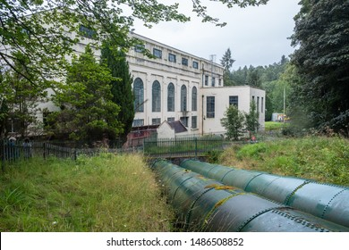13. AUG. 2018 - Bonnington Hydro Electric Power Station on River Clyde near New Lanark WHS (the first of it's kind in the UK). South Lanarkshire, Scotland, UK