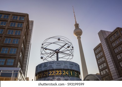 13 February 2017 Berlin, Germany. Television tower and world clock at Alexanderplatz in Berlin