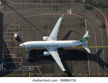13 February 2017, Eindhoven Airport, Holland. Aerial view of Transavia Boeing 737 PH-HZE at the gate.
