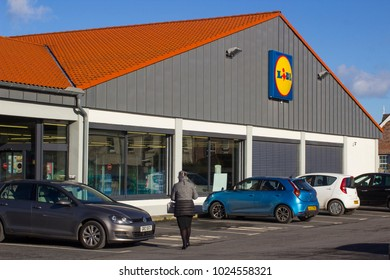13 February 2018 The car park and signage of the Lidl  Supermarket on the Circular road in Bangor County Down on a bright midwinter day
