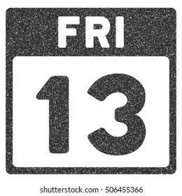 13 Friday Calendar Page grainy textured icon for overlay watermark stamps. Flat symbol with dust texture. Dotted glyph gray ink rubber seal stamp with grunge design on a white background.