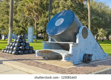 A 13 inch civil war mortar on the Charleston Battery.