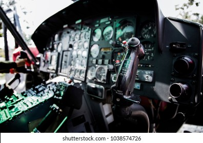 13 January 2018,Nakornrachasima,Thailand. close up controler of old helicopter in dark light