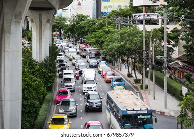 13 July 2017 , Thailand - Bangkok , Many cars in the city , Traffic jam in the capital