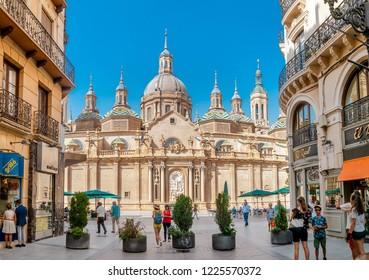 13 JULY 2018, ZARAGOZA, SPAIN: Panoramic view of the Cathedral Basilica del Pillar - Roman Catholic Church