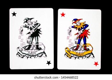13 july, 2019, Georgia, Tbilisi, Bin Wang playing cards. Joker card on black background.