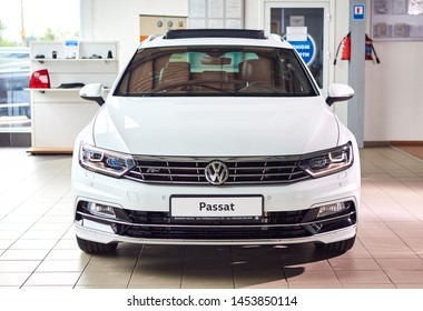 13 of July, 2019 - Vinnitsa, Ukraine. Volkswagen NEW Passat R-line 2019, car produced by German automaker VAG Group, presentation in showroom, front side