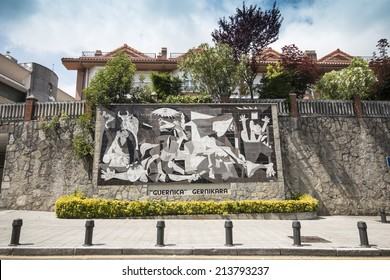 13 JUNE 2014 - GUERNICA, Spain. Copy of the painting called 'Guernica' of the famous spanish painter Pablo Picasso in the Guernica city.