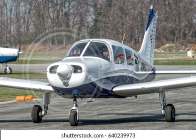 13 March 2017 Piper PA28 REG I-CNPG taxiing at Turin Aeritalia Airport for departure as a flight school. This type of aircraft is most used for training as Cessna C152 or C172.