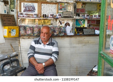13 march 2017 ;Shiraz Iran ;unidentifiled iranians man is smileing for photo at  city market shiraz.