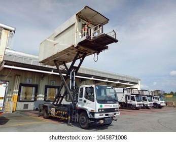 13 March 2018 : Kuala Lumpur, Malaysia. Hi Lift Truck for airline catering at Kuala Lumpur International Airport.