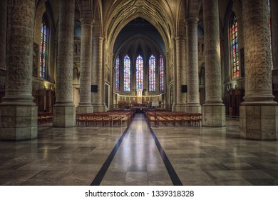 13 March 2019, Notre-Dame Cathedral, Luxembourg, view inside