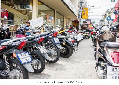13 May 2015 in Pattaya Thailand, Various motorbikes are parked on side walk in Pattaya Thailand