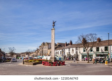 13 May 2018: Skipton, North Yorkshire, UK - Market Day in High Street, looking south from the War Memorial.
