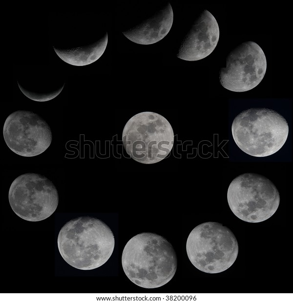 13 Moon Phases Stock Photo (Edit Now) 38200096
