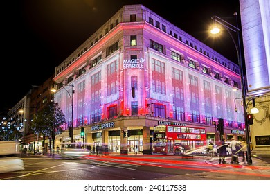 13 November 2014 Marks and Spenser shop on Oxford Street, London, decorated for Christmas and New 2015 Year, England, Uk