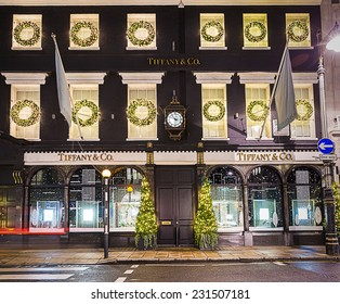 13 November 2014 Tiffany shop on New Bond Street, London, decorated for Christmas and New 2015 Year