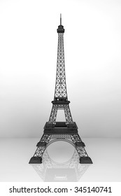13 November 2015 Concept. 3d Eiffel tower on a white background