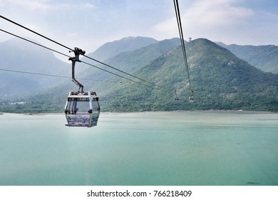 13 October 2017, The Ngong Ping 360 is a cable car on Lantau Island in Hong Kong that ride with spectacular views over Lantau Island from Tung Chung to Tian Tan Buddha.