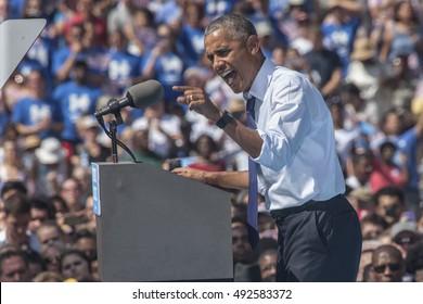 13 September 2016 - Philadelphia,USA - President Barack Obama campaigns for Hillary Clinton in Philadelphia.