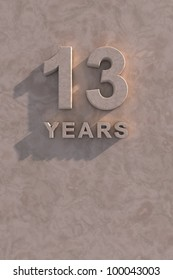 13 years 3d text with shadow and copy space