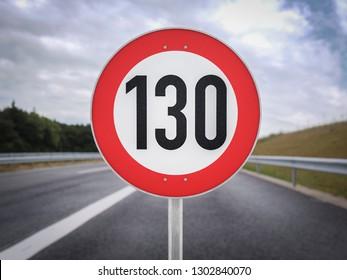 130 speed limit sign German Autobahn km/h
