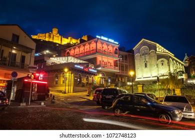 13.04.2018 Tbilisi, Georgia - Beautefull view of old Tbilisi at night.