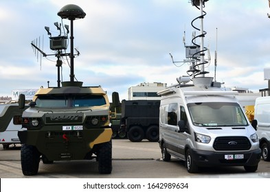 """13.05.2019 Minsk, MILEX-2019: """"Groza-S""""counter-UAV electronic warfare station mounted by """"KB Radar"""" onto MRAP Volat-V1 MZKT-490100 produced by the Minsk Wheel Tractor Plant trading as VOLAT and FORD"""