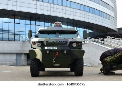 13.05.2019 Minsk, Military exhibition MILEX-2019: MRAP Volat-V1 the armoured vehicle MZKT-490100 produced by the Minsk Wheel Tractor Plant JSC (MWTP) trading as VOLAT