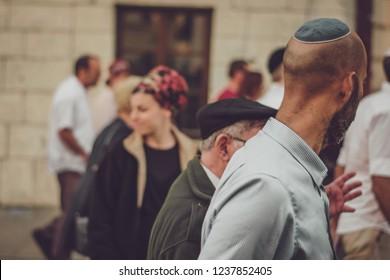 13.07.2018 Krakow, Poland: a group of Jewish tourists walking around the ancient European city on a tour