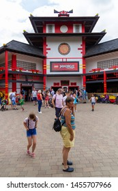 13.07.2019 Legoland Windsor, UK. LEGO NINJAGO The Ride. 4D interactive family ride.
