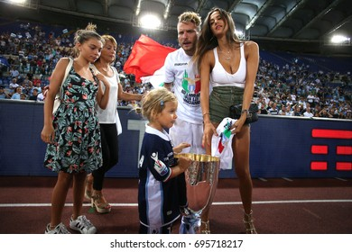 13.08.2017. Stadio Olimpico, Rome, Italy. Super Cup Tim Final football. Juventus vs Lazio. CIro Immobile with the family.