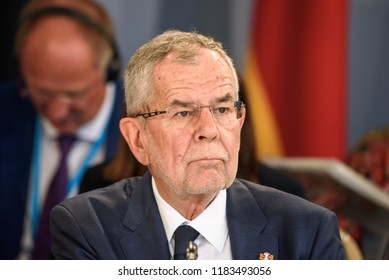 13.09.2018. RUNDALE, LATVIA.  Alexander Van der Bellen, President of Austria, during First working session, during the 14t First working session, during the 14th Informal Meeting of the Arraiolos Gr