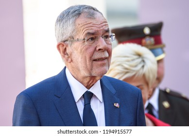 13.09.2018. RUNDALE, LATVIA. Alexander Van der Bellen, President of Austria,  during Official arrival ceremony of the 14th Informal Meeting of the Arraiolos Group in Rundale palace, Latvia.