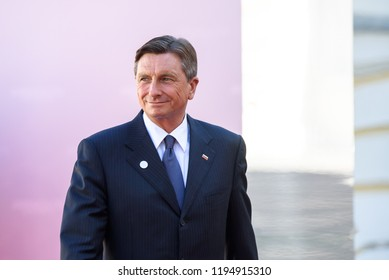 13.09.2018. RUNDALE, LATVIA.  Borut Pahor, President of Slovenia, during Official arrival ceremony of the 14th Informal Meeting of the Arraiolos Group in Rundale palace, Latvia.