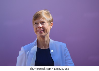 13.09.2018. RUNDALE, LATVIA. Kersti Kaljulaida, President of Estonia, during Official arrival ceremony of the 14th Informal Meeting of the Arraiolos Group in Rundale palace, Latvia.