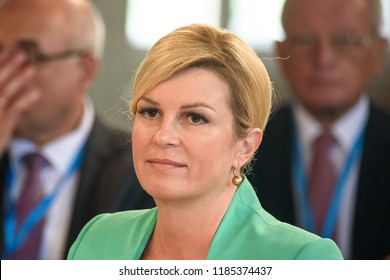 13.09.2018. RUNDALE, LATVIA. Kolinda Grabar-Kitarović, President of Croatia, during, during First working session, during the 14th Informal Meeting of the Arraiolos Group in Rundale palace, Latvia.