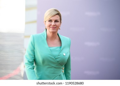13.09.2018. RUNDALE, LATVIA. Kolinda Grabar-Kitarović, President of Croatia, during  Official arrival ceremony of the 14th Informal Meeting of the Arraiolos Group in Rundale palace, Latvia.
