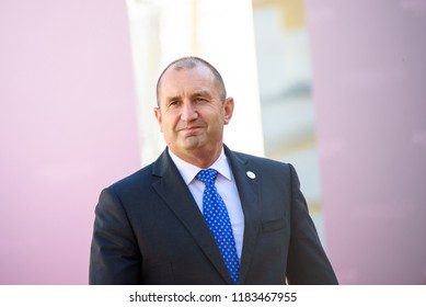 13.09.2018. RUNDALE, LATVIA.  President of Bulgaria Rumen Radev, during Official arrival ceremony of the 14th Informal Meeting of the Arraiolos Group in Rundale palace, Latvia.
