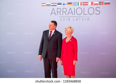 13.09.2018. RUNDALE, LATVIA. President of Latvia Raimonds Vejonis and First lady of Latvia Iveta Vejone, during Official arrival ceremony of the 14th Informal Meeting of the Arraiolos Group in Rundale