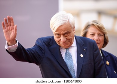 13.09.2018. RUNDALE, LATVIA. Prokopis Pavlopoulos, President of Greece, during Official arrival ceremony of the 14th Informal Meeting of the Arraiolos Group in Rundale palace, Latvia.