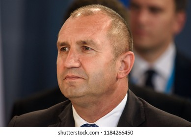 13.09.2018. RUNDALE, LATVIA. Rumen Radev, President of Bulgaria, during  First working session, during the 14th Informal Meeting of the Arraiolos Group in Rundale palace, Latvia.