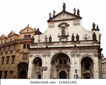13-June-2018, Prague, Czech Republic. St. Salvator Church (Holy Saviour) by italian architect Carlo Lurago, is a part of the former Jesuit College of St Clement (Klementinum), in Old Town, Prague.