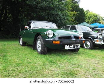 13th August 2017- An MGB sports car being displayed at a classic car show in Gnoll Park, Neath, Port Talbot, Wales, UK.